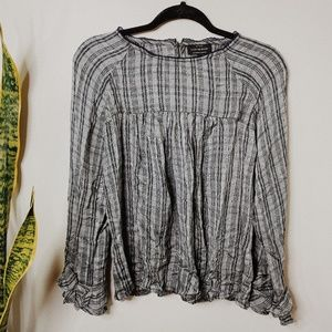 • LUCKY BRAND • NWT blue plaid ruffle sleeve top